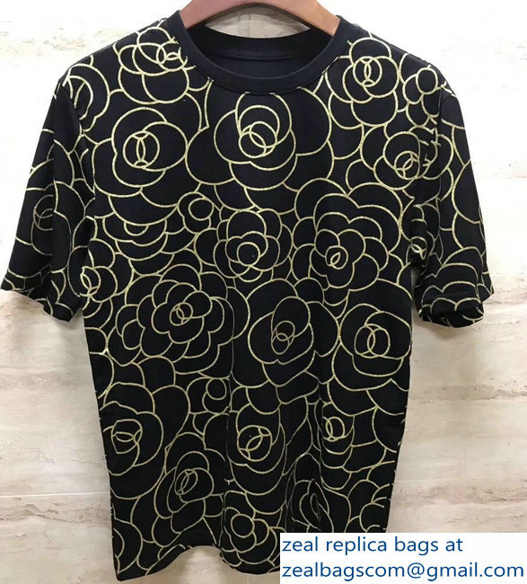 Chanel Camellia T-shirt Black 2019