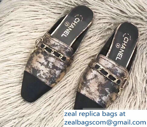 Chanel Chain and Leather Slipper Sandals Mules Bronze 2019