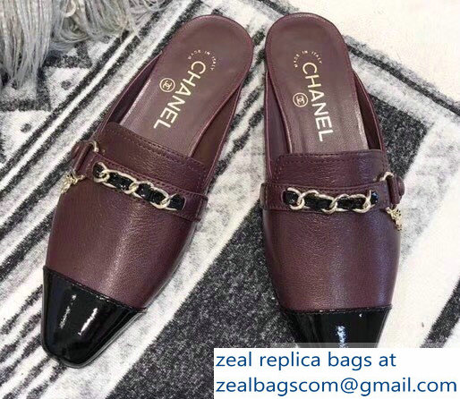 Chanel Chain and Leather Slipper Sandals Mules Burgundy 2019