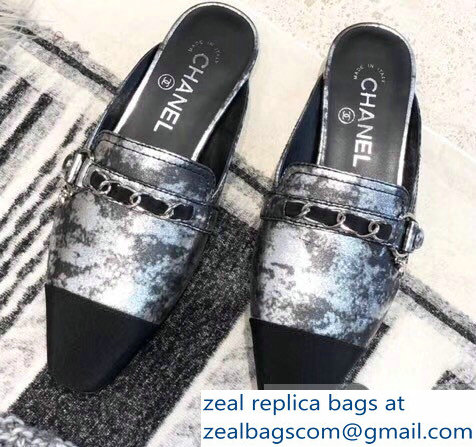 Chanel Chain and Leather Slipper Sandals Mules Silver 2019