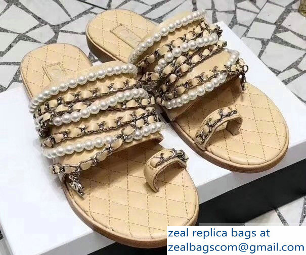 Chanel Chain and Pearl Slipper Sandals G34407 Beige 2019