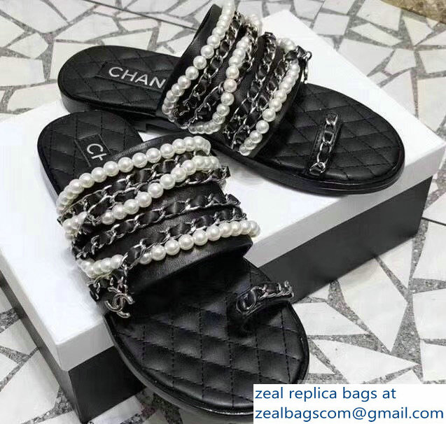 Chanel Chain and Pearl Slipper Sandals G34407 Black 2019