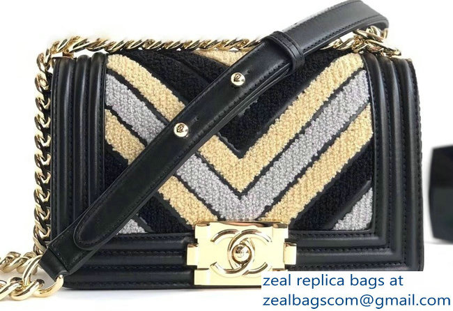 Chanel Embroidered Calfskin/Lurex Boy Small Flap Bag Black 2019