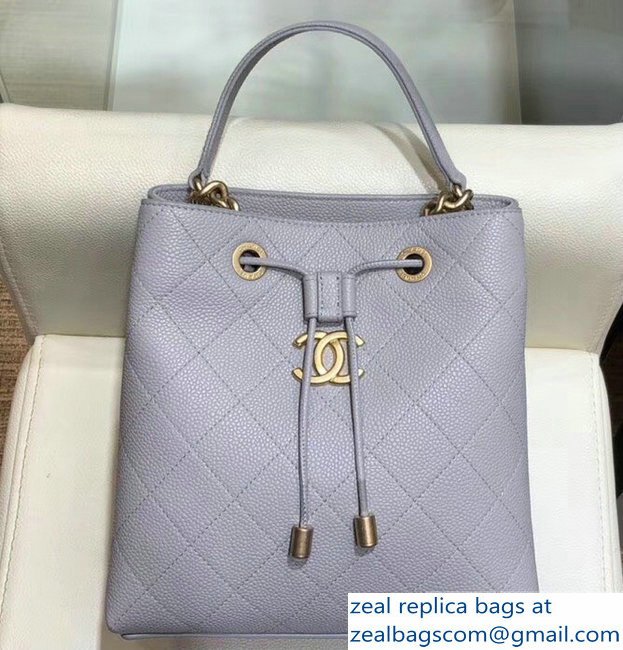 Chanel Grained Calfskin and Gold-Tone Metal Drawstring Bucket Bag AS0310 Gray 2019
