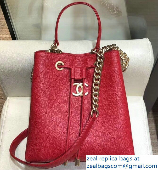 Chanel Grained Calfskin and Gold-Tone Metal Drawstring Bucket Bag AS0310 Red 2019