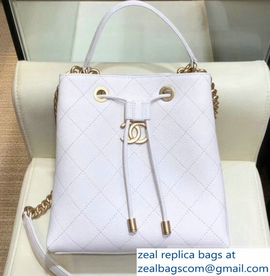 Chanel Grained Calfskin and Gold-Tone Metal Drawstring Bucket Bag AS0310 White 2019