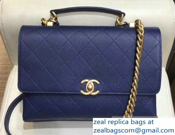 Chanel Grained Calfskin and Gold-Tone Metal Medium Flap Bag AS0305 Blue 2019