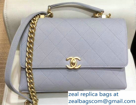 Chanel Grained Calfskin and Gold-Tone Metal Medium Flap Bag AS0305 Gray 2019