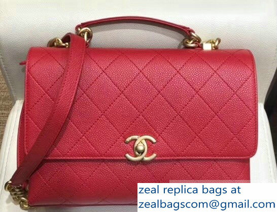 Chanel Grained Calfskin and Gold-Tone Metal Medium Flap Bag AS0305 Red 2019