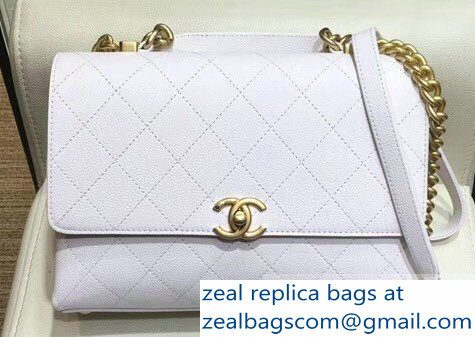 Chanel Grained Calfskin and Gold-Tone Metal Medium Flap Bag AS0305 White 2019