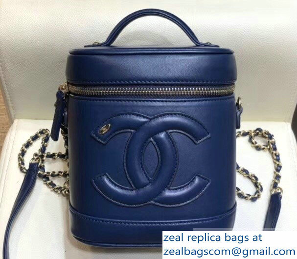 Chanel Lambskin CC Logo Coco Vanity Case Bag AS0323 Navy Blue 2019