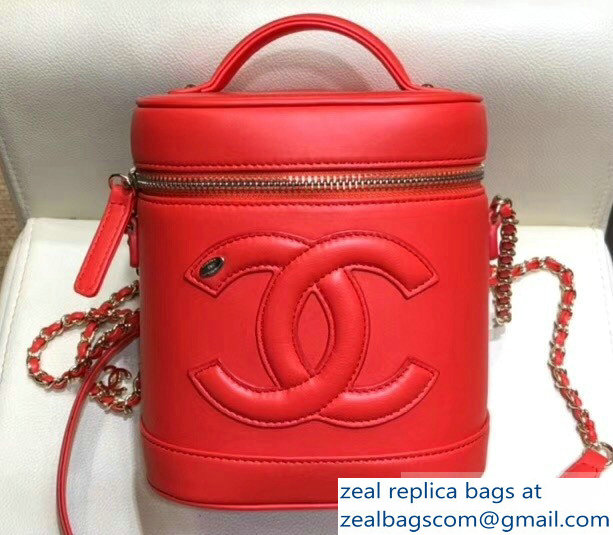 Chanel Lambskin CC Logo Coco Vanity Case Bag AS0323 Red 2019