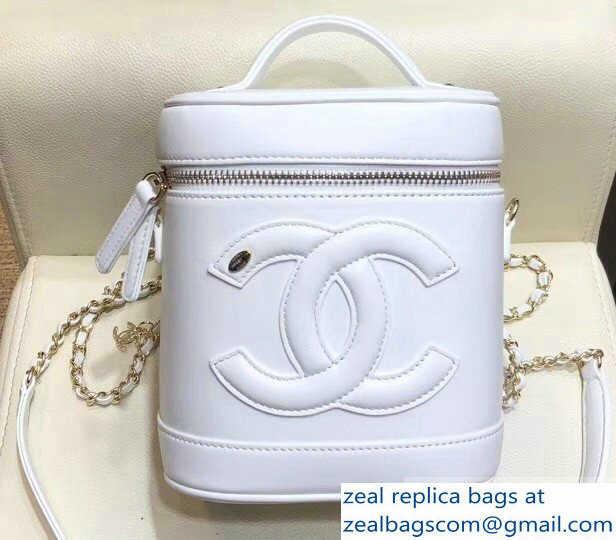 Chanel Lambskin CC Logo Coco Vanity Case Bag AS0323 White 2019