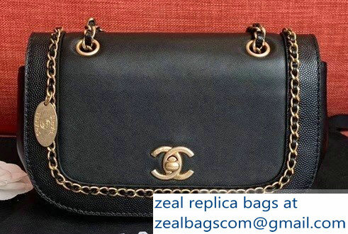 Chanel Lambskin/Grained Chain Around Calfskin Flap Bag AS0371 Black 2019
