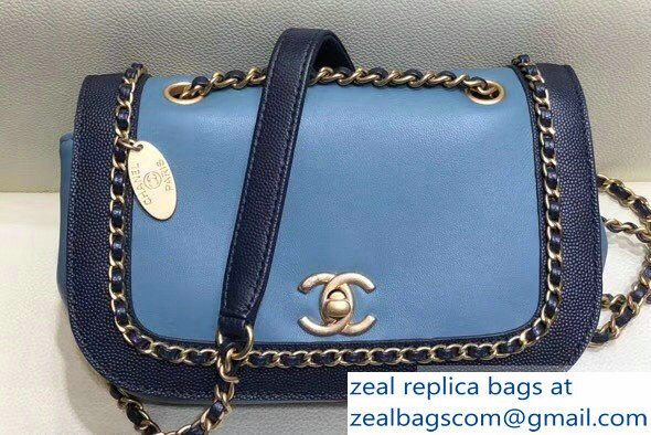 Chanel Lambskin/Grained Chain Around Calfskin Flap Bag AS0371 Blue 2019