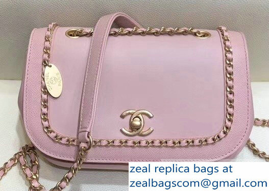 Chanel Lambskin/Grained Chain Around Calfskin Flap Bag AS0371 Pink 2019
