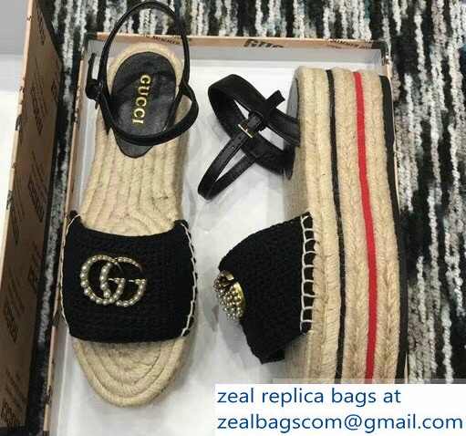 Gucci Crochet Espadrilles Sandals Black With Pearls Double G 2019