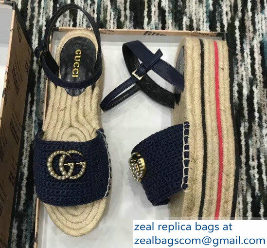 Gucci Crochet Espadrilles Sandals Navy Blue With Pearls Double G 2019