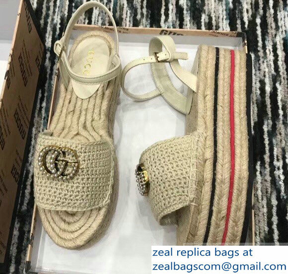 Gucci Crochet Espadrilles Sandals Nude With Pearls Double G 2019