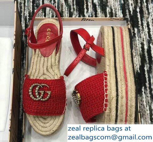 Gucci Crochet Espadrilles Sandals Red With Pearls Double G 2019