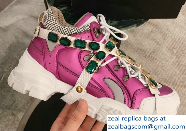 Gucci Flashtrek Sneakers Fuchsia with Removable Crystals 2019