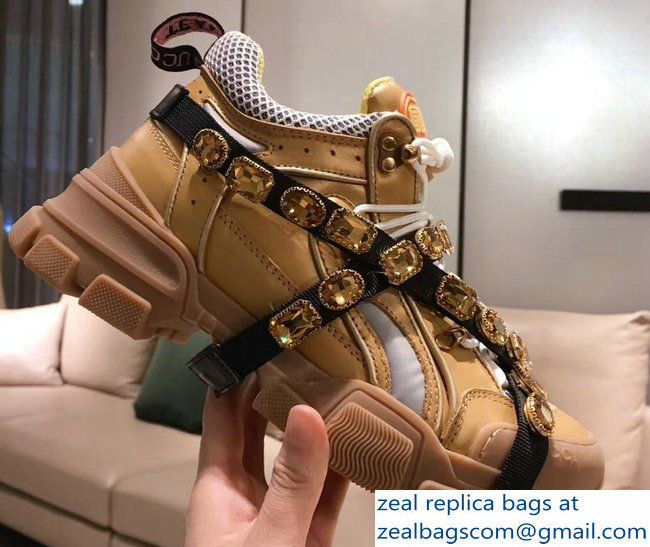 Gucci Flashtrek Sneakers Gold with Removable Crystals 2019