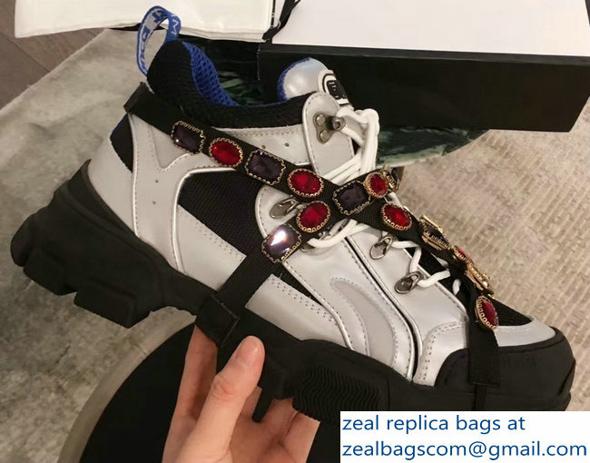 Gucci Flashtrek Sneakers Silver/Blue with Removable Crystals 2019