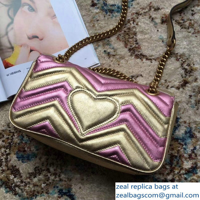Gucci GG Marmont Matelasse Chevron Shoulder Small Bag 443497 Metallic Gold 2019 - Click Image to Close