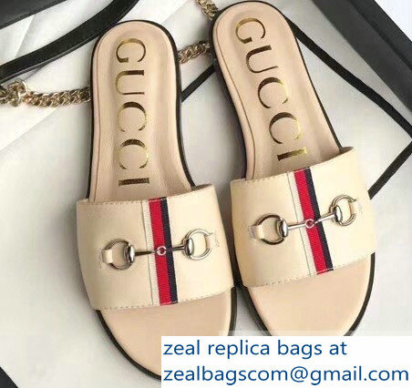 Gucci Horsebit and Sylvie Web Flat Slides Nude 2019