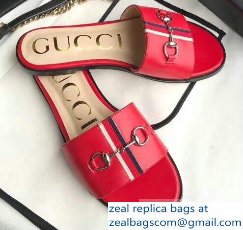 Gucci Horsebit and Sylvie Web Flat Slides Red 2019