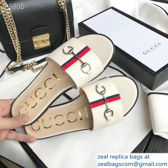Gucci Horsebit and Sylvie Web Flat Slides White 2019