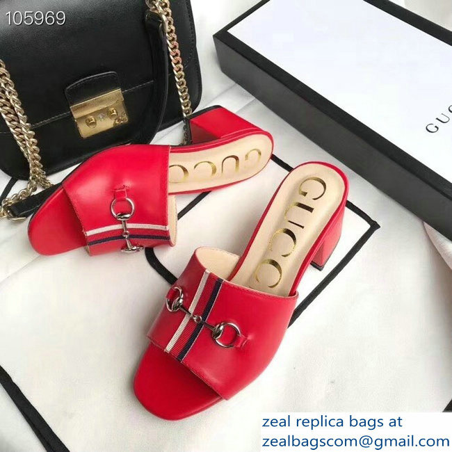 Gucci Horsebit and Sylvie Web Heel Slides Red 2019