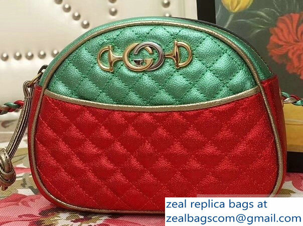 Gucci Laminated Leather Small Bag 510388 Metallic Green/Red 2019