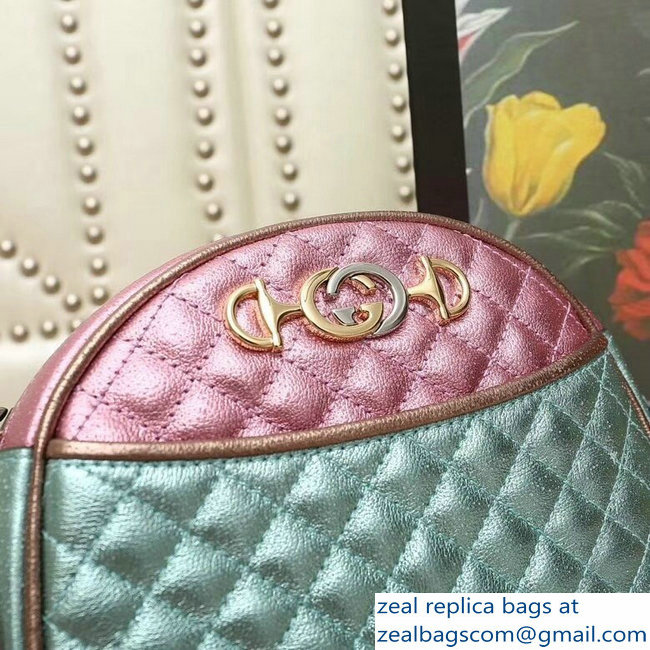 Gucci Laminated Leather Small Bag 510388 Metallic Pink/Green 2019