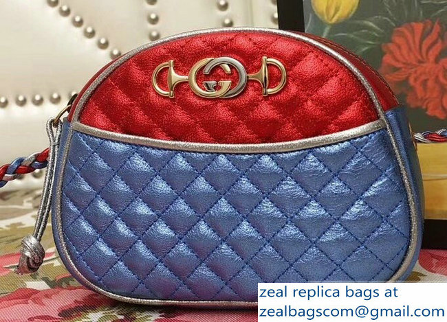 Gucci Laminated Leather Small Bag 510388 Metallic Red/Blue 2019