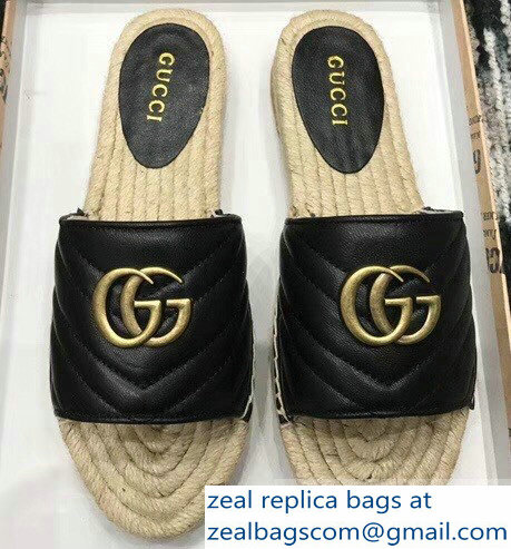 Gucci Leather Espadrilles Slides Sandals Black With Double G 573028 2019