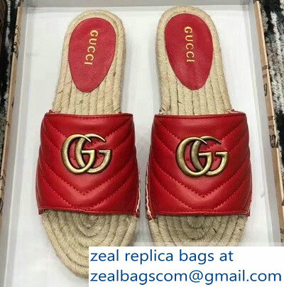 Gucci Leather Espadrilles Slides Sandals Red With Double G 573028 2019