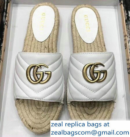 Gucci Leather Espadrilles Slides Sandals White With Double G 573028 2019
