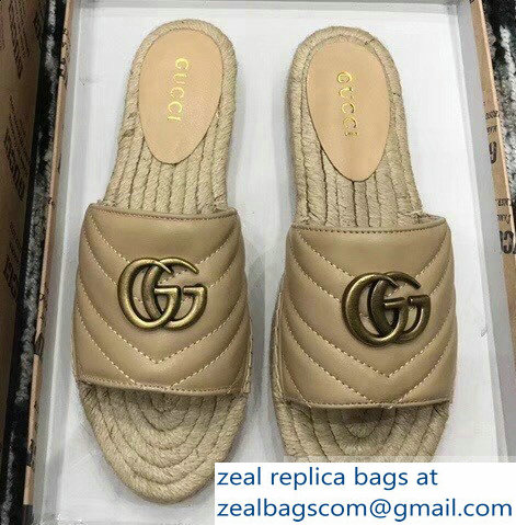 Gucci Leather Espadrilles Slides Sandals With Double G 573028 Nude 2019