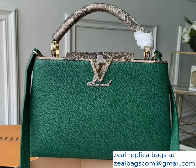 Louis Vuitton Capucines BB Bag Python Handle and Flap N95384 Louxor Green