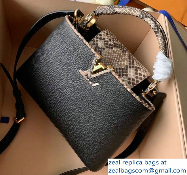 Louis Vuitton Capucines BB Bag Python Handle and Flap N95509 Black