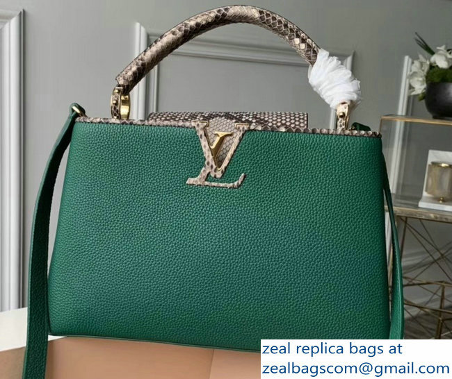 Louis Vuitton Capucines PM Bag Python Handle and Flap N95382 Green
