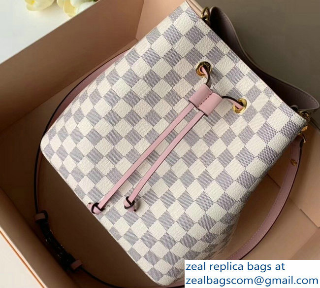 Louis Vuitton Damier Azur Canvas NeoNoe Bucket Bag N40151 Pink