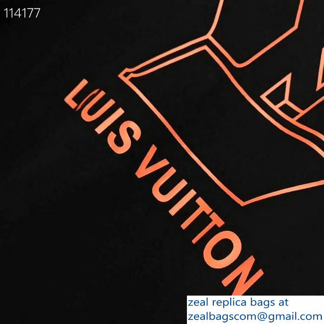 Louis Vuitton Orange Logo T-shirt Black 2019