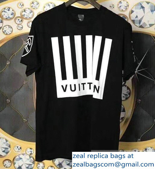 Louis Vuitton Striped Logo T-shirt Black 2019
