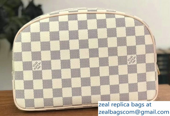 Louis Vuitton Toiletry 25 Bag Damier Azur Canvas