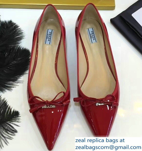 Prada Ballerinas Flats Red with Bow 2019
