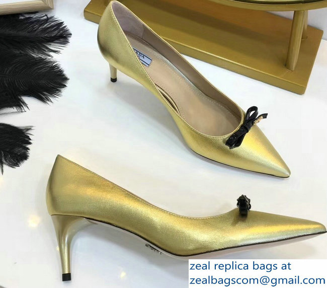 Prada Mid-Heel Pumps Gold with Bow 2019