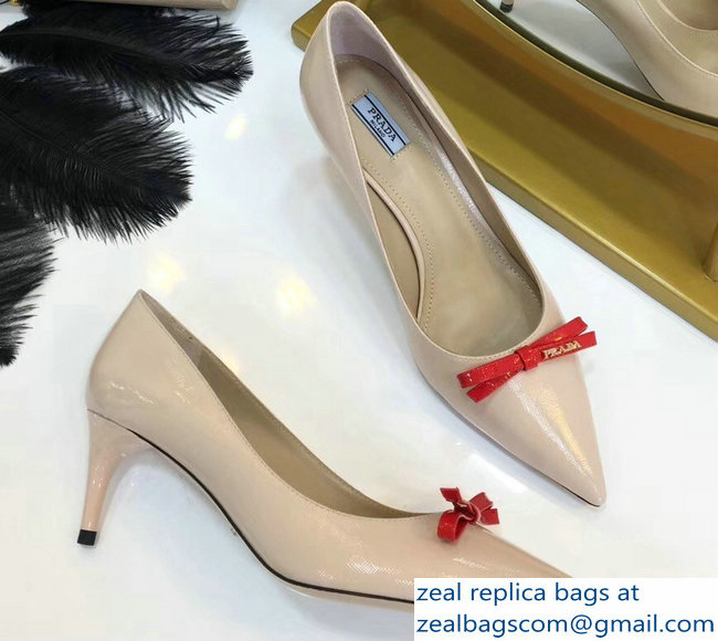 Prada Mid-Heel Pumps Nude with Bow 2019