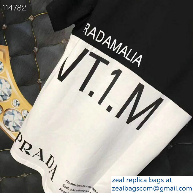 Prada Pradamalia Cotton T-shirt Black/White 2019